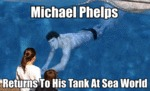 Michael Phelps Returns To His Tank At Sea World