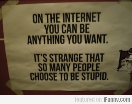 On The Internet You Can Be Anything You Want...