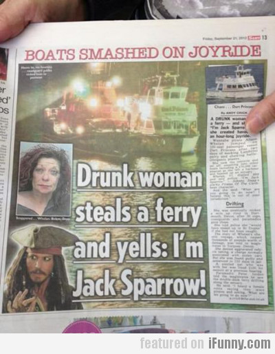 Drunk woman steals a ferry and yells...