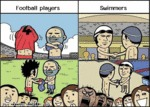 Football Players Vs. Swimmers
