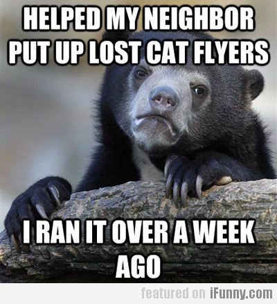 Helped my neighbor put up lost cat flyers…