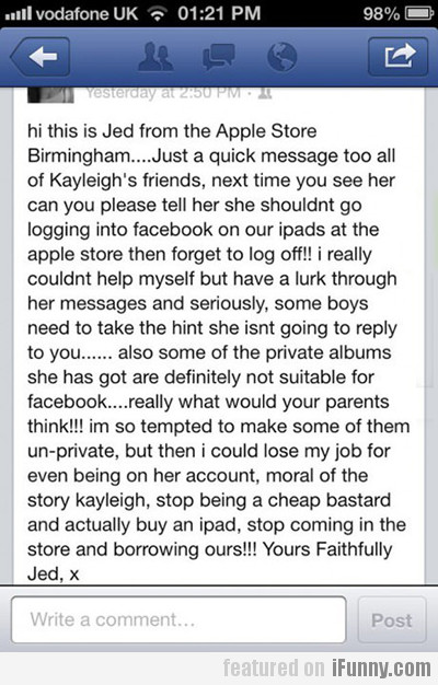 Hi This Is Jed From The Apple Store Birmingham…
