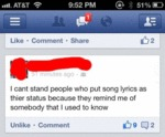 I Can't Stand People Who Put Song Lyrics As...