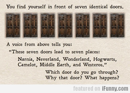 You find yourself in front of seven identical door