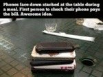 Phones Face Down Stacked At The Table During...