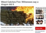 Weed Catches Fire, Witnesses Say A Dragon Did It