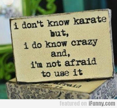 I Don't Know Karate, But I Do Know Crazy...