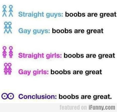 Straight guys: boobs are great.