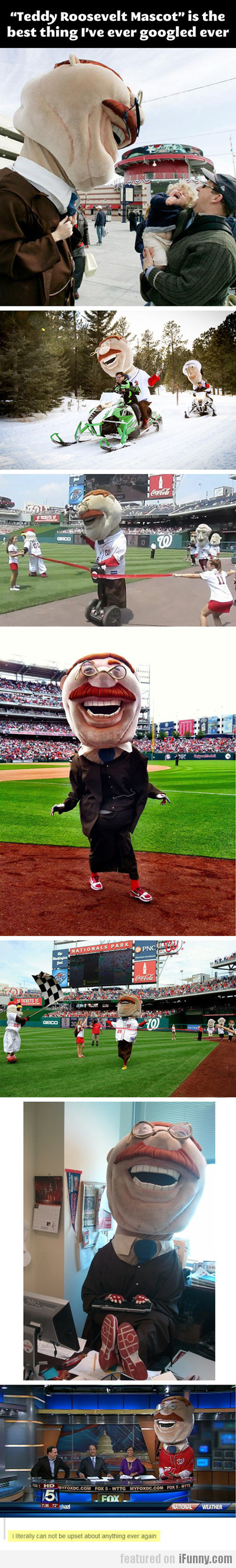 teddy roosevelt mascot is the best thing i ever...