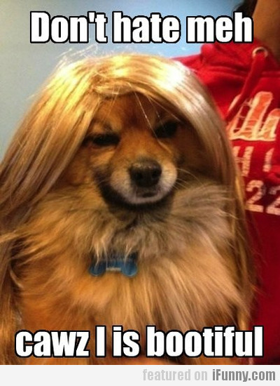 Don't hate meh cause cawz I is bootiful