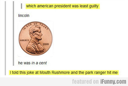 which american president was the least guilty...
