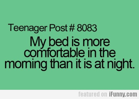 My Bed Is More Comfortable In The Morning Than...
