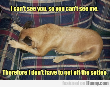 I Can't See You, So You Can't See Me...