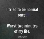 I Tried To Be Normal Once. Worst Two Minutes Of...