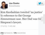 "Kim Kardashian Tweeted ""no Justice"" In Reference.."