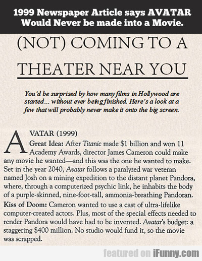 1999 Newspaper Article Says Avatar...