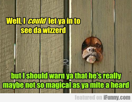 Well, I could let ya in to see da wizzerd...