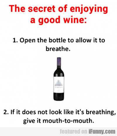 The Secret Of Enjoying A Good Wine...