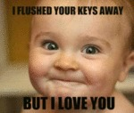 I Flushed Your Keys Away. But I Love You.
