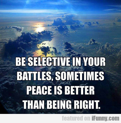 Be Selective In Your Battles, Sometimes Peace...