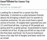Dwarf Needed For Canoe Trip