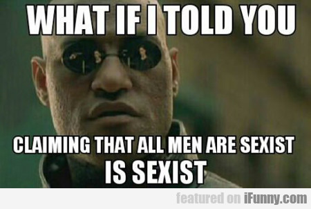 what is i told you claiming all men are sexist...
