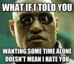 What If I Told You Wanting Some Time Alone...