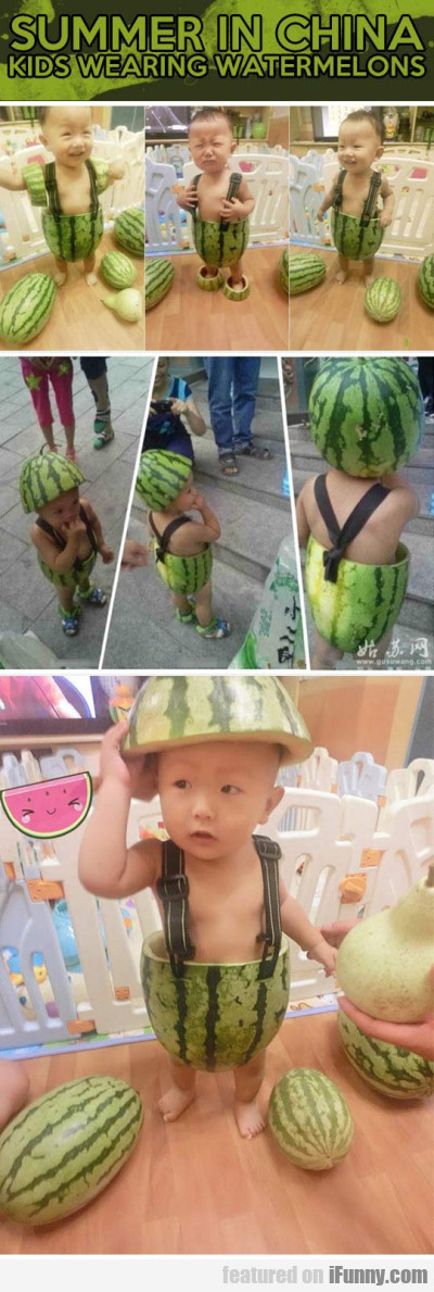 Summer In China - Kids Wearing Watermelons
