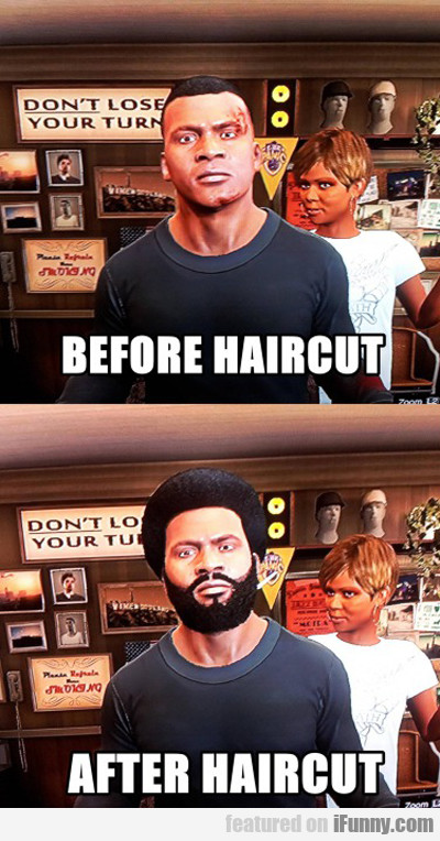 GTA 5: before haircut vs after haircut