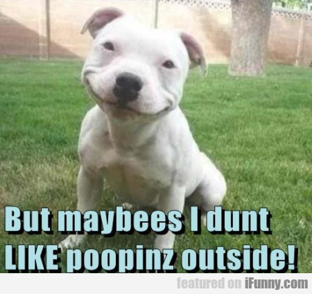 But maybees I dunt like poopinz outside!