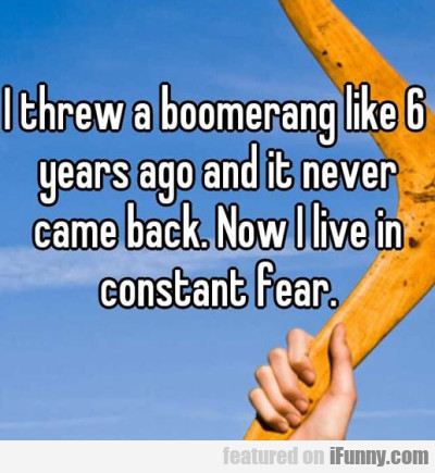 I Threw A Boomerang Like 6 Years Ago And It Never