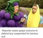 Reporter Wears Grape Costume To Defend Boy...