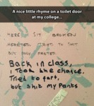 A Nice Little Rhyme On A Toilet Door...