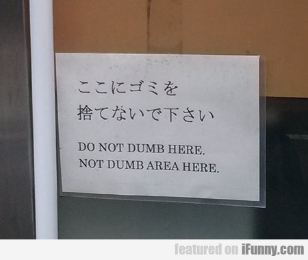 Do Not Dumb Here...