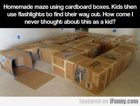 homemade maze using cardboard boxes...