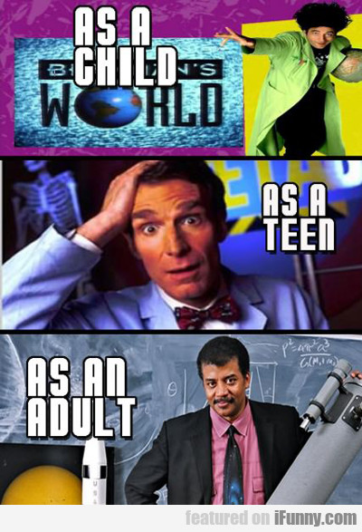 as a child, as a teen, as an adult...