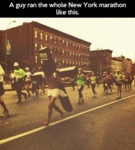 A Guy Ran The Whole New York Marathon Like This...