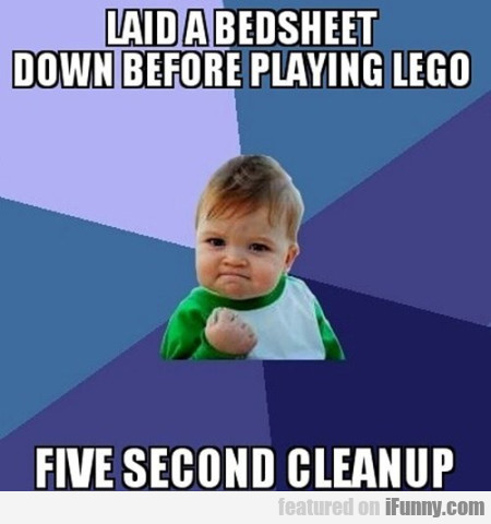 Laid A Bedsheet Down Before Playing Lego