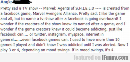 pretty sad a tv show -- Marvel