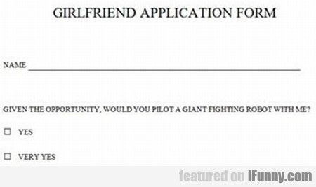 Girlfriend Application Form
