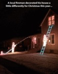 A Local Fireman Decorated His House A Little...