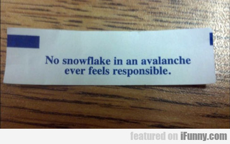 No Snowflake Is An Avalanche...