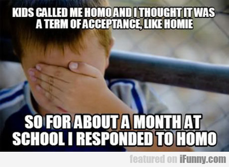 Kids Called Me Homo And I Thought...