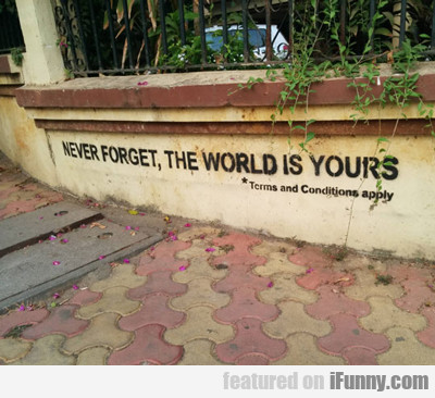 Never Forget, The World Is Yours...