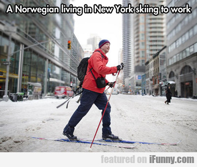 A Norwegian Living In New York Skiing To Work