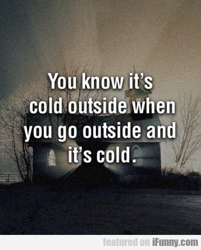 You Know It's Cold Outside When You Go Outside...
