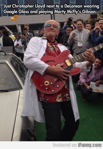just Christopher lloyd next to a delorean...