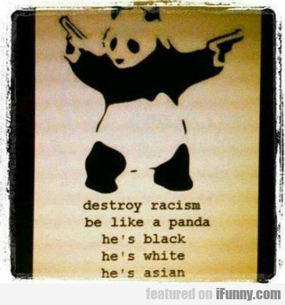 Destroy Racism, Be Like A Panda...