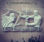 I Saw This On The Side Of A Hospital...