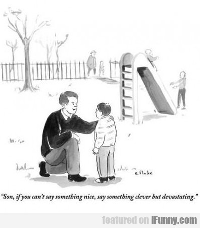 Son, if you can't say anything nice, say...